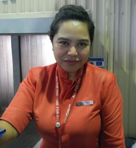 miss Zalwatul, a beautiful lady who help us to purchase a new ticket